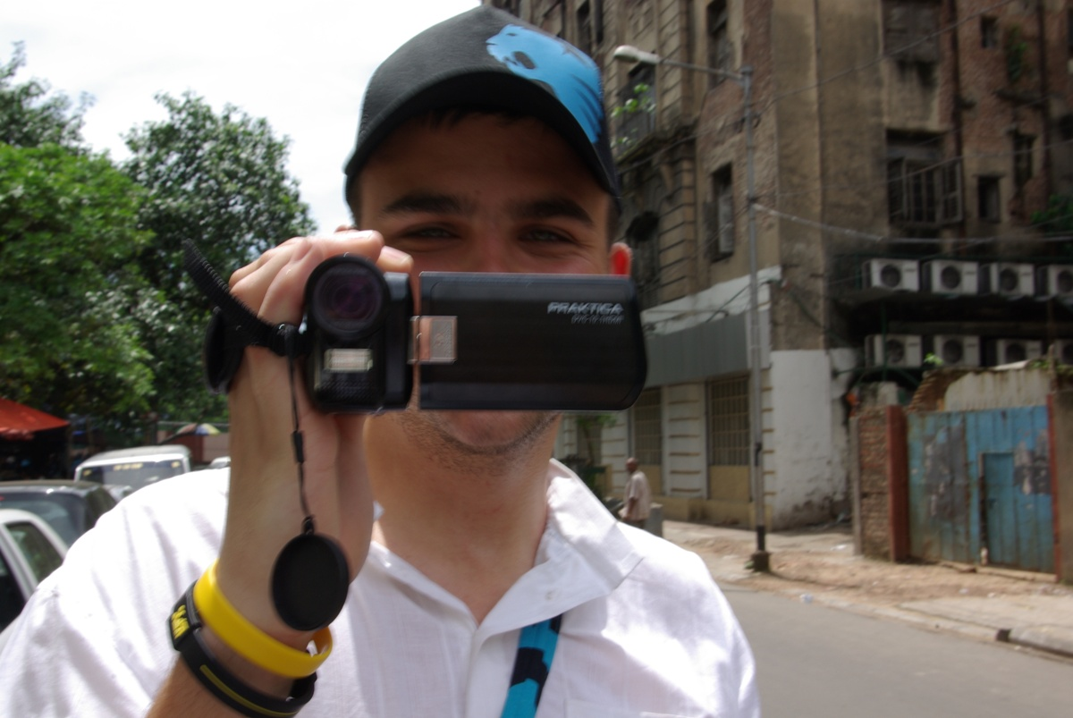 Pełny rynsztunek - ja z aparatem, Jarek z kamerą